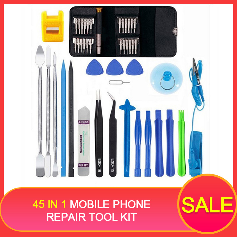 45 in 1 Mobile Phone Repair Tool Kit Multi Opening Disassembly Repair Tool set for iphone for Samsung xiaomi Hand Tools for pad(China)