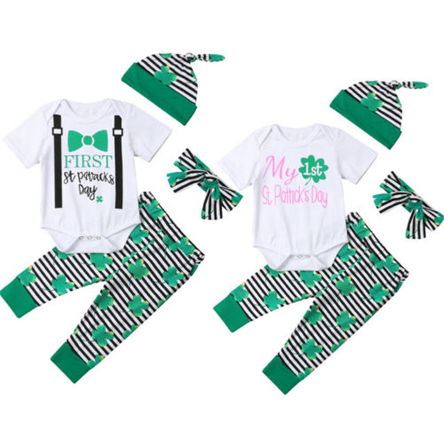 3bfcd96c36ec0 US $5.79 28% OFF|Fashion Newborn Baby Boy Girls St Patrick's Day Outfits  Short Sleeve Letter Romper Pants Hat Bow Headband 4Pcs Unisex Sets 0 24M-in  ...