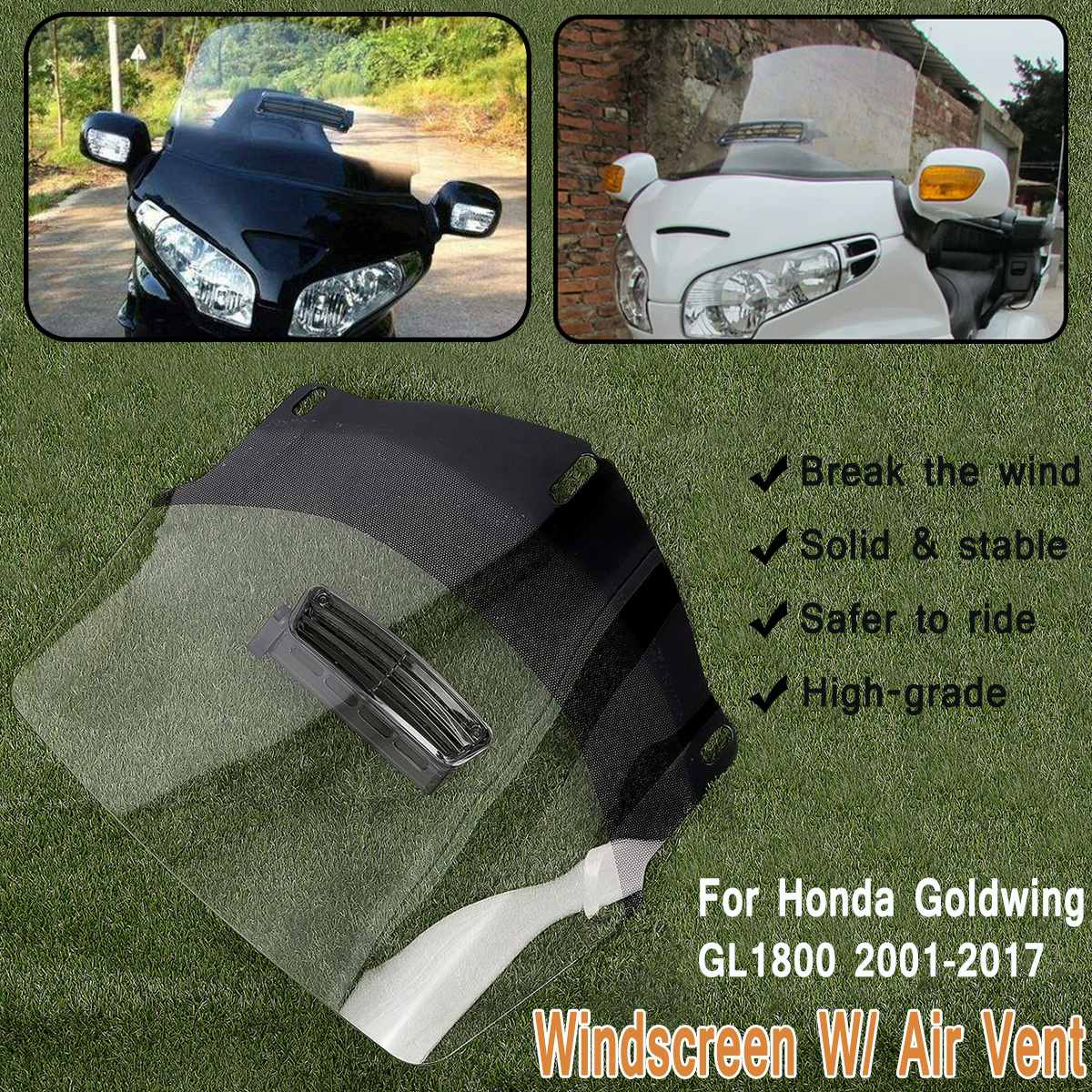 Clear Motorcycle Windshield Screen Protector W/ Air Vent Fits for Honda Goldwing GL1800 2001 2017 ABS Front Shield