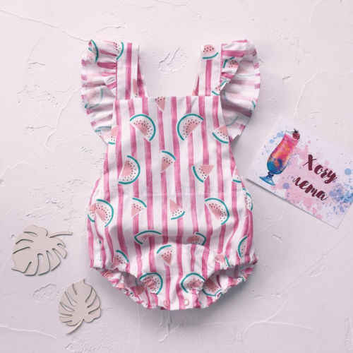 Cute Newborn Baby Girl Summer Watermelon Print Vertical stripes Ruffles Romper Jumpsuit One-Pieces Outfit Sunsuit