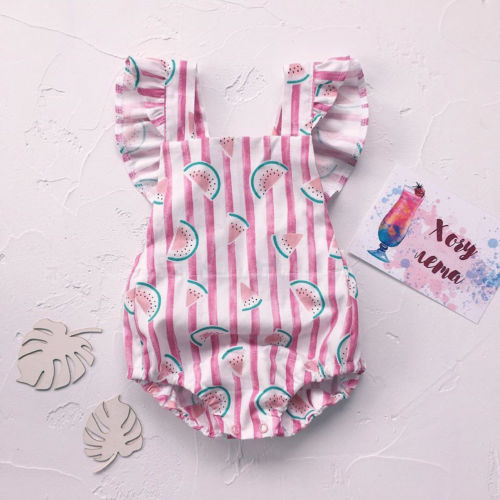 Cute Newborn Baby Girl Summer Watermelon Print Vertical Stripes Ruffles Romper -6799