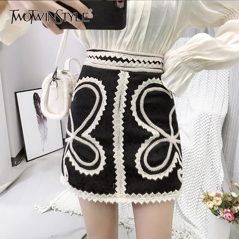 TWOTWINSTYLE Black Embroidery High Waist Skirts Womens Print Patchwork Lace Sexy Mini Skirt Female Spring Fashion 2019 Korean