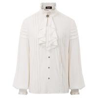 Men Shirt Steampunk Victorian Renaissance Elegant Men tops Long Sleeve Jabot Collar Vintage Shirt