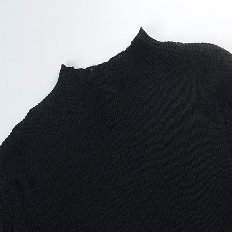 Chandail Haut Splice Mince En white Femmes Ruches Mesh De Élégant Automne Printemps Piste Gamme 2019 Hauts Pulls Black Jumper Nouveau Tricot tqEq1w5xr