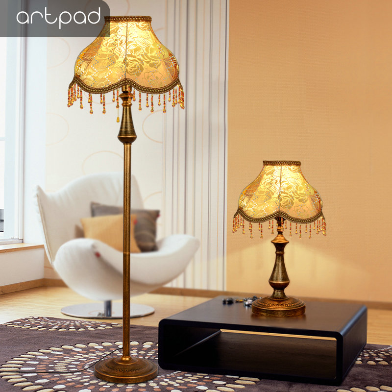 Artpad European Decoration LED Standing Floor Lamps for Living Room Bedroom Luminaire E27 Bedside Light With Foot Switch