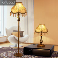 Artpad European Decoration LED Standing Floor Lamps for Living Room Bedroom Luminaire E27 Bedside Floor Light With Foot Switch