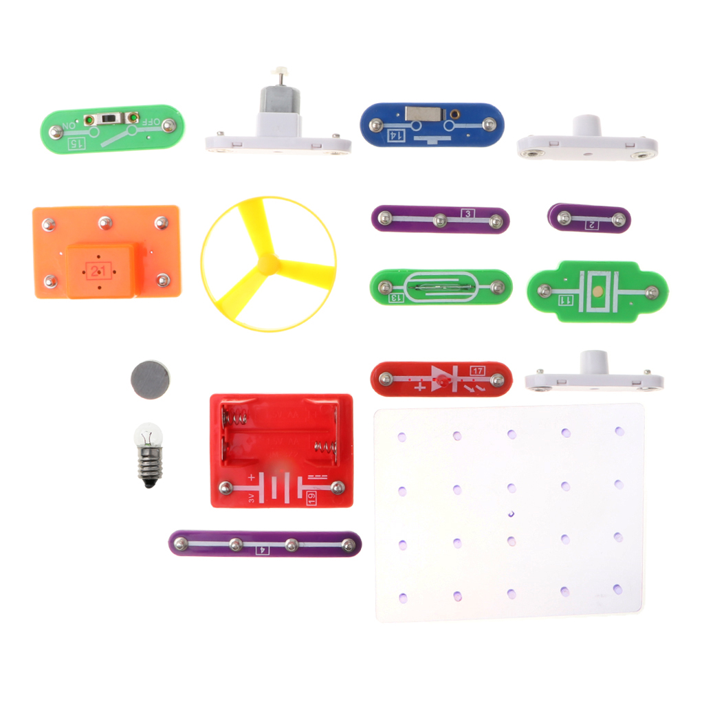 58-in-1 16 Pieces Electronics Discovery Learning Kits - DIY Physical Lab Basic Circuit Experiment Science Education Toy - W-58