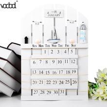 Calendar 2019 Mediterranean Style Wooden Perpetual Calendar DIY Wall Hanging Calendar Pendants Ornaments Crafts Home Gifts New