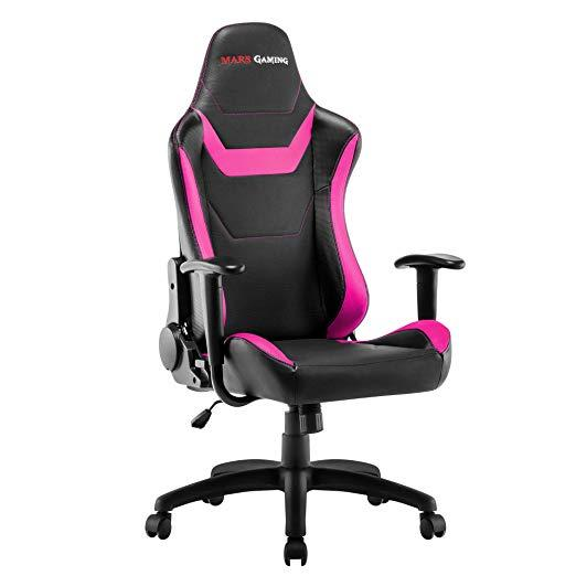 Chair Gamer Mars Gaming Mgc218bpk Color Black Details In Pink AND Carbono Recliner Double Layer Padding Leather Sintet