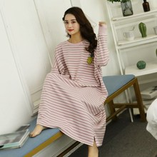 Spring Autumn Women Nightdress Long Sleeve Nightshirt Plus Size Dress Round Neck Loose Home Striped Nightgowns