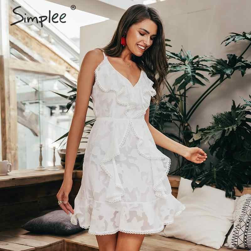 Женское короткое платье Simplee, с оборками и V-образным вырезом 2019, летние белые шифоновые пляжные повседневные платья на бретелях-спагетти с цветочным принтом