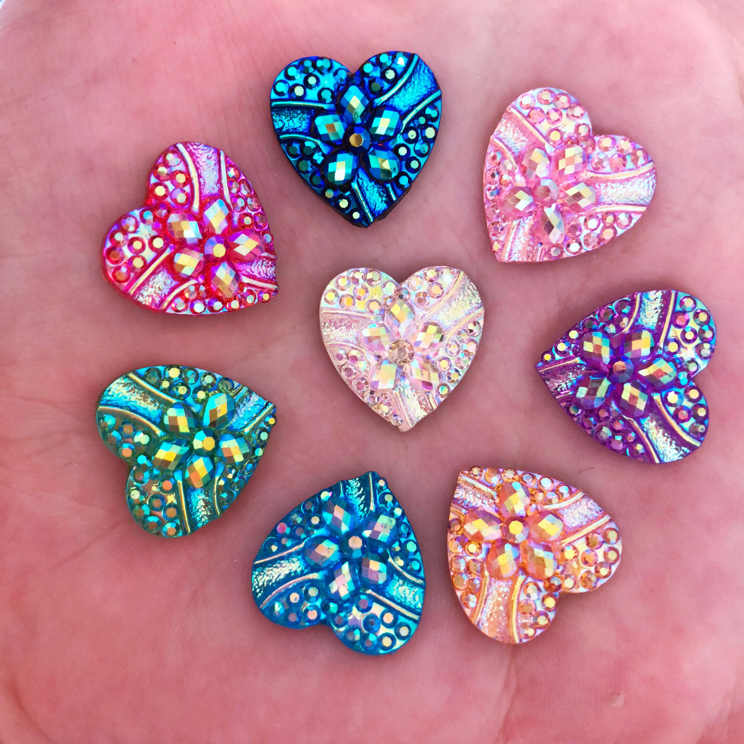 HOT 20PCS AB Resin 14mm heart shape  FlatBack Appliques//wedding DIY craft