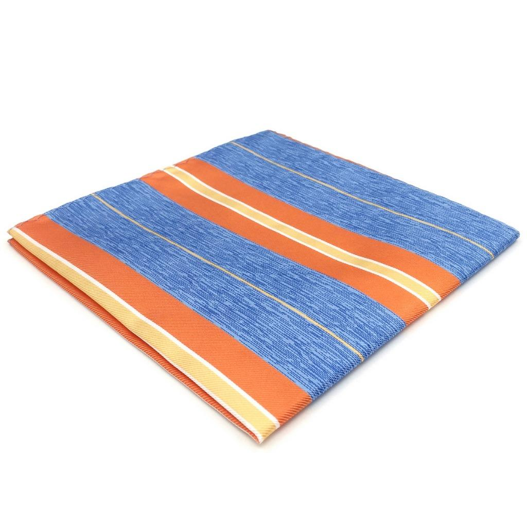 EH37 Striped Blue Orange Mens Pocket Square Classic Handkerchief Fashion Hanky