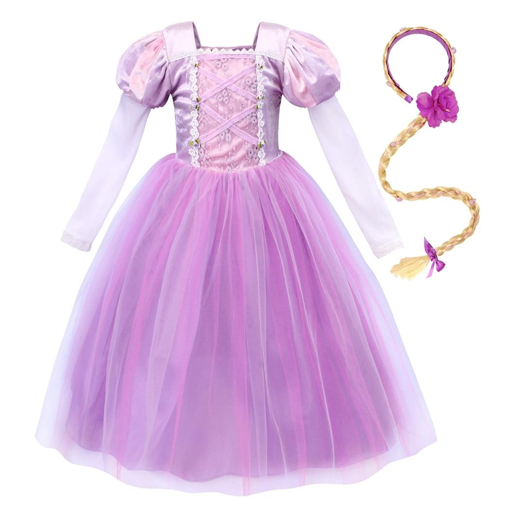 AmzBarley Girls Princess Rapunzel Dress Christmas Halloween Cosplay Costume Toddler Long Sleeve Wedding Birthday party outfits