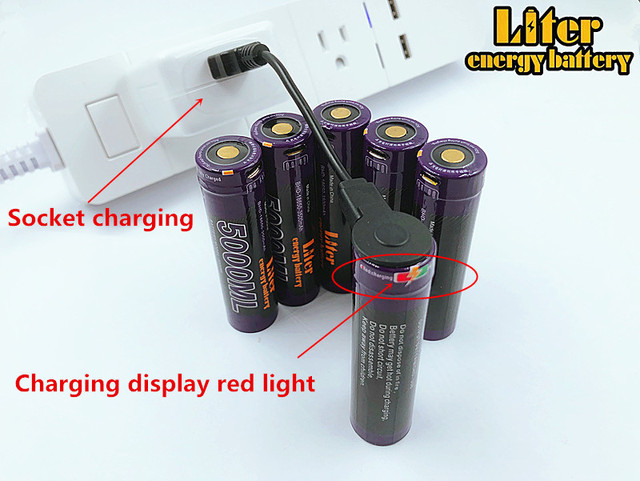 3PCS Liter energy battery USB 5000ML Li-ion Rechargebale battery USB 18650 3500mAh 3.7V Li-ion battery + USB wire