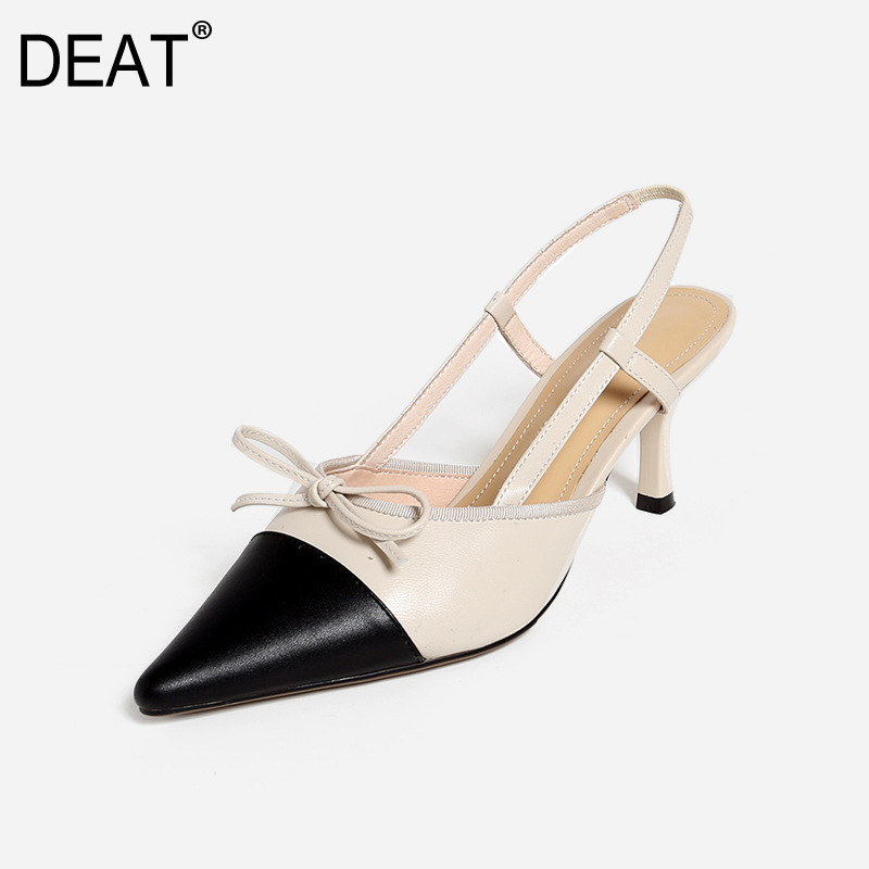 DEAT 2019 New Spring Summer Sharp Toe Shallow Pu Leather Mixed Colors Bowknot Thin High