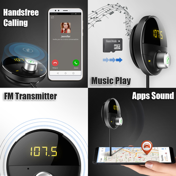 Bluetooth Car Kit Handsfree Receiver Wireless Speakerphone in Cars AUX Adapter 3.5mm Jack FM Transmitter for Auto Hands Free