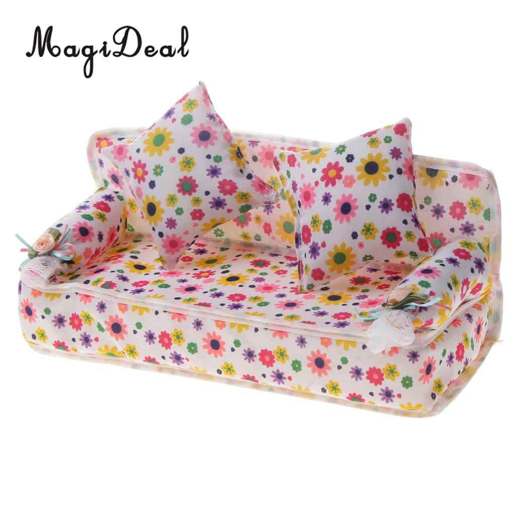 Mini Couch Romantic Premium Mini Furniture Set Flower Sofa Couch 2 Cushions For Dollhouse Dolls Living Room Decor Children Pretend Play Toy