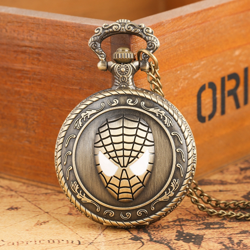 Vintage Handmade Carving 3D Spider Man Quartz Pocket Watch Exquisite Style Super Hero Spiderman Fans Gifts For Boy Kids Friends