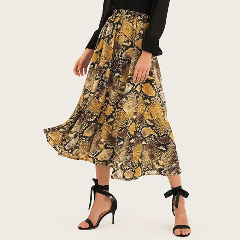 Boho Summer Women Skirt Casual Elegant Punk Sexy Club Travel Beach Plus Size Aline Serpentine Leopard Print Female Fashion Skirt Price $34.26