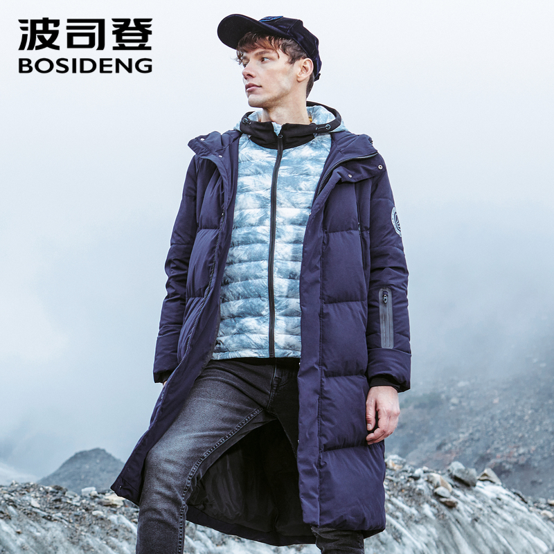BOSIDENG men's hooded long   down   jacket winter over-the-knee fashion casual high quality   down     coat   waterproof parka B80142015