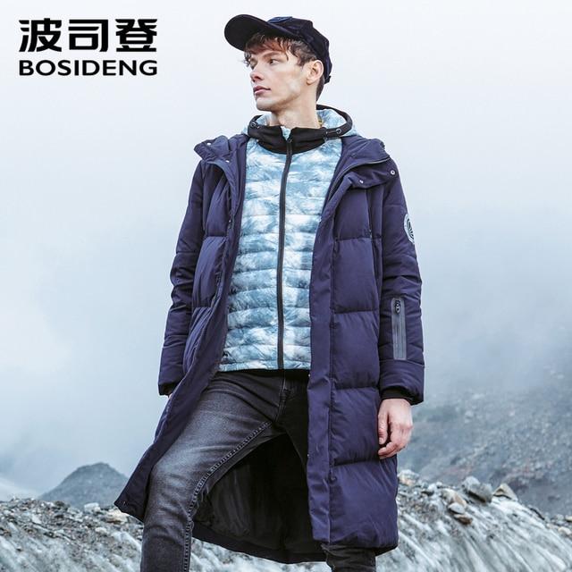 Bosideng 남성 후드 롱 다운 재킷 겨울 오버 무릎 패션 캐주얼 고품질 다운 코트 방수 파카 b80142015