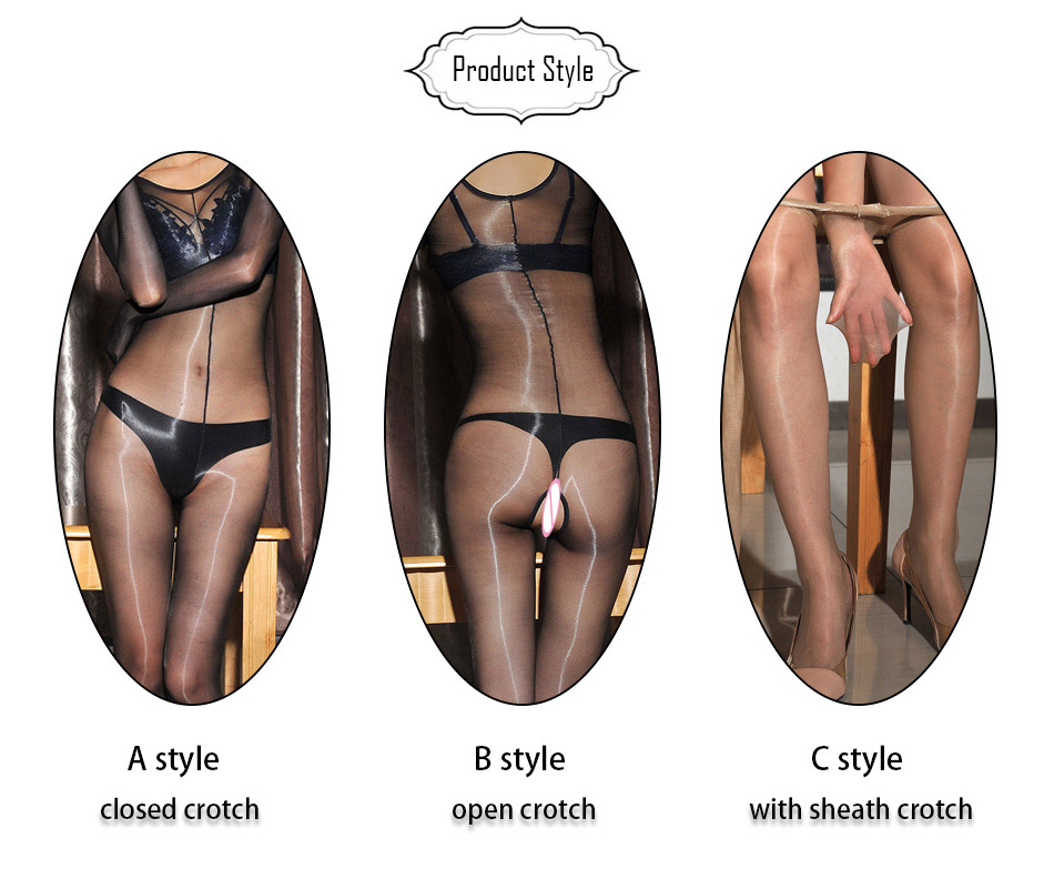1D Oil Shine Encased Hand Bodyhose With Open Or  Close Or Sheath Crotch For Both Man & Woman Sexy Spandex Bodysuit DOYEAH 0018