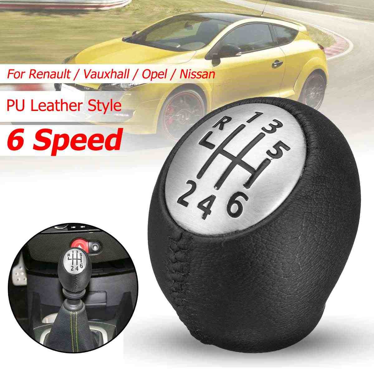 6 Speed PU Leather Gear Shift Shifter Knop Lever Stick voor Renault Megane Clio Laguna Scenic Voor Vauxhall Opel