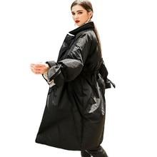 Down Parka 2018 New Brand Winter Lapel White Duck Jacket Women Overknee Long Outwear Ultralight Fashion Black Coat HJ57