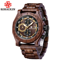 Waterproof Chronograph Date Wooden Watches Men Gentlemen Minimalist relogio masculino Male Clock Wooden Gift Box Drop Shipping