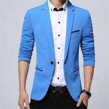 New Arrival Luxury Men Blazer Spring Fashion Brand High Quality Cotton Slim Fit Suit Terno Masculino Blazers