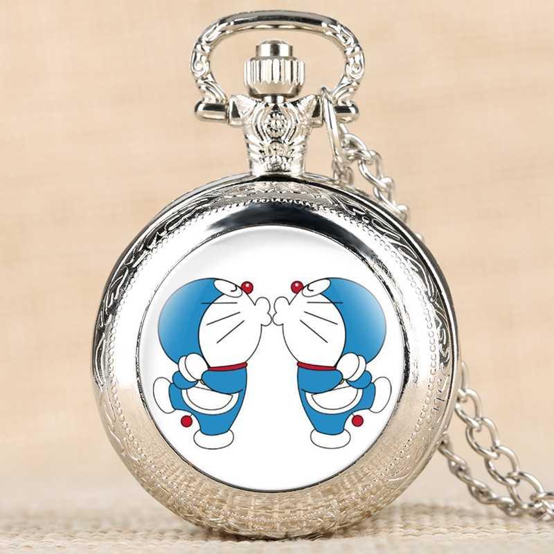 Милый мультфильм Doraemon кварцевые карманные часы Детские цепочки и ожерелья часы синий Tinkling Cat ювелирные изделия кулон подарки для обувь для мальчико...