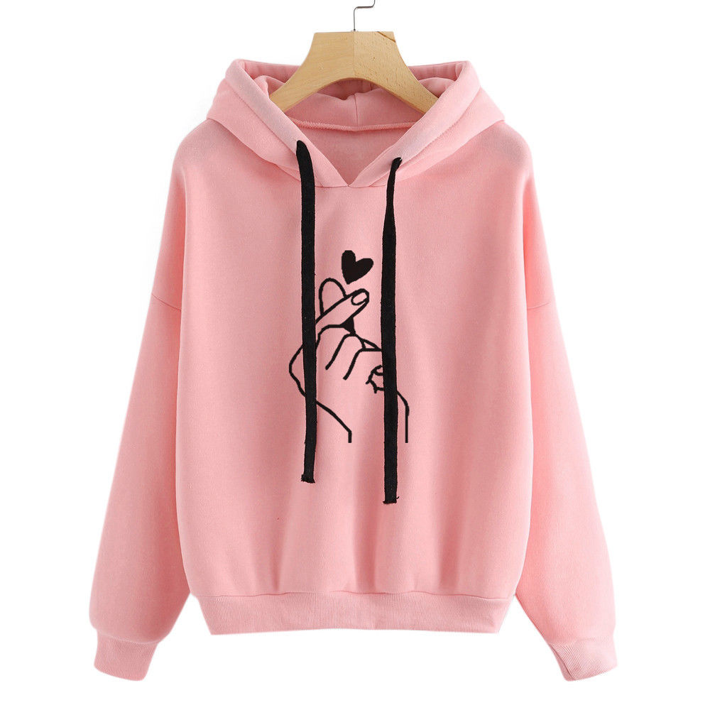 Detail Feedback Questions about Harajuku Pink Hoodies Women Show Love Heart  Printed Hooded Sweatshirts Oversize Tops Ladies Loose Pullover Tracksuits  ... 71c88f5eb1ec