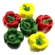 Gresorth 6 PCS Artificial Red Green Yellow Pepper Fake Peppers Home Kitchen Decoration