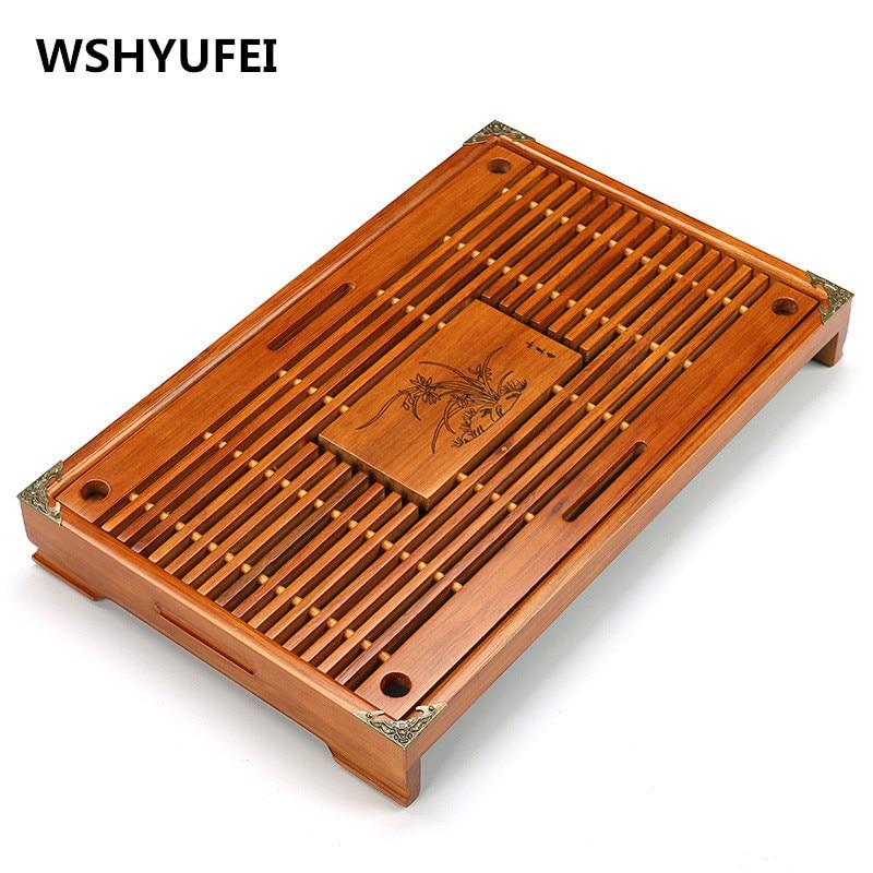Plateau à thé en bois massif Drainage stockage de l'eau Kung Fu ensemble de thé tiroir plateau de thé Table thé chinois cérémonie outils