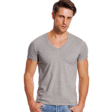 Deep V Neck T Shirt for Men Slim Fit Low Cut Wide Collar Top Tees Male Modal Cotton Short Sleeve