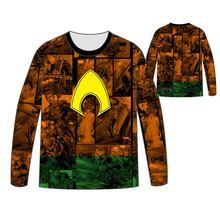Hot DC movie superhero Aquaman  T-shirt Men Tops Unisex Cosplay dress Long sleeve aquaman T shirt Tees