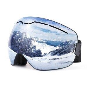 Противопротивотуманные лыжные очки OTG дизайн для мужчин и женщин, сферическая двухслойная линза UV400 защита для сноуборда маска с очками, 2019
