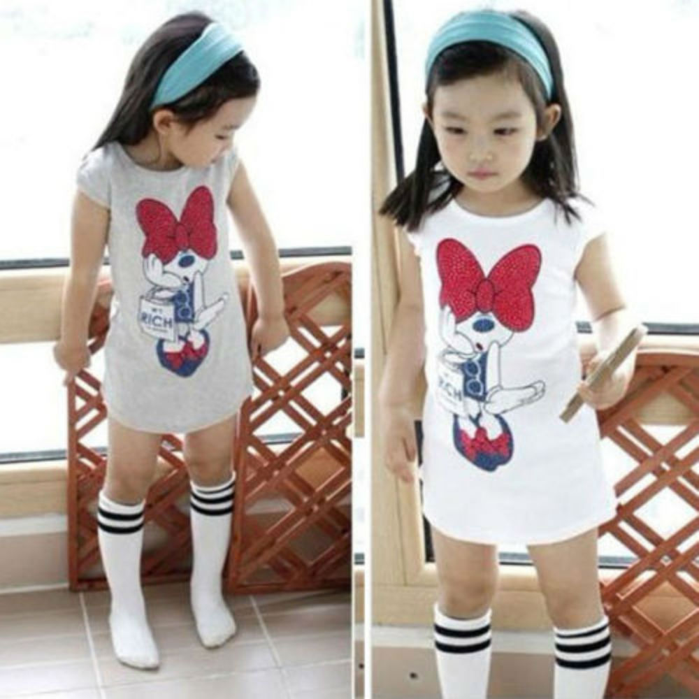 Newest Fashion Cute Kids Baby Girls Minnie Mouse Party Dress Causal Cotton White And Gray Vest Toddler Clothes 3-8Year