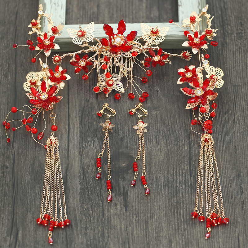 Earrings Wedding-Accessories Crown Bride Classical Chinese-Style Phoenix T912 Headwear