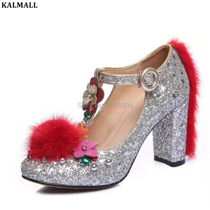Glitter Fleur Mariage Kalmall As Épais Talons strap as Embelli Partie Shown Pompes Mary T Femmes Lady 2019 Chaussures Janes Habillées De Shown qIwAfFaI