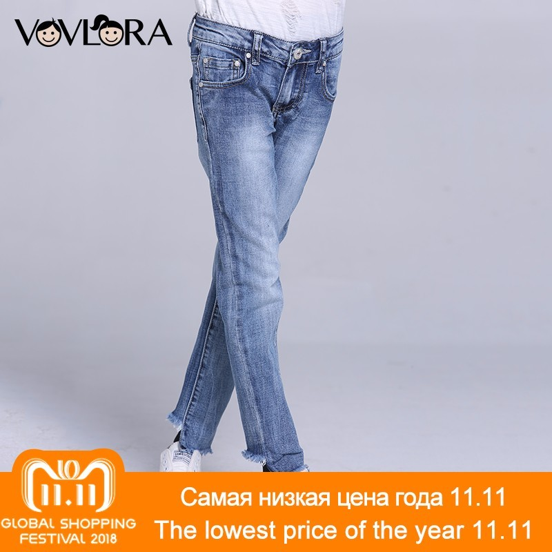 Girls Jeans Pants Straight Solid Pencil Kids Jeans Trousers Denim Casual Children Clothing Spring 2018 Size 9 10 11 12 13 14 Y afs jeep autumn jeans mens straight denim trousers loose plus size 42 cowboy jeans male man clothing men casual botton page 2