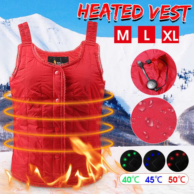 Women Soft Electric Heated Vest Carbon Fiber Heating Waistcoat USB Thermal Warm Cloth Winter Jacket For Outdoor Sports HikingWomen Soft Electric Heated Vest Carbon Fiber Heating Waistcoat USB Thermal Warm Cloth Winter Jacket For Outdoor Sports Hiking
