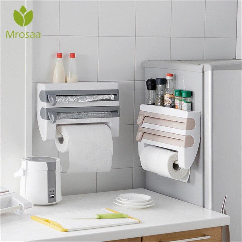 ห้องครัวพลาสติกตู้เย็น Cling Film Storage ตัดแร็คห่อเครื่องตัดฟอยล์ดีบุกกระดาษผ้าขนหนูครัวชั้นวางขอ...