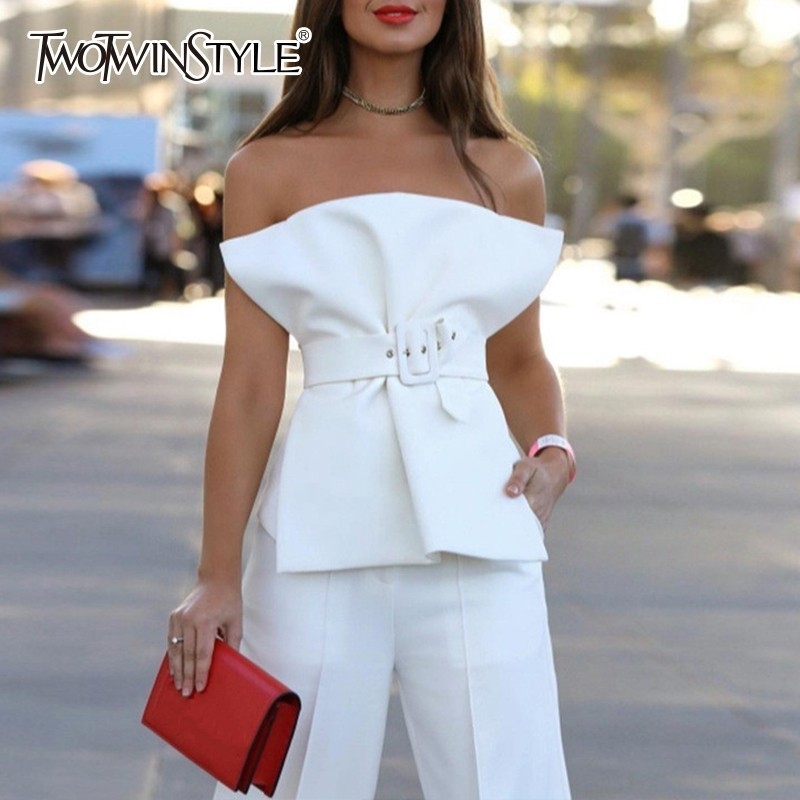 TWOTWINSTYLE Sexy Strapless Shirts For Women Sleeveless Tunic With Sashes Black Blouse Female Summer 2020 Fashion Clothes