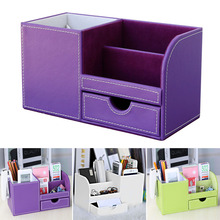 Waterproof Exterior Multifunctional Compartment Pen Container Storage Case Drawer Type PU Leather Box Desk Organizer Decoration