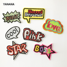 Hot words Catchwords Various Letters Iron On Embroidered Clothes Patches For Clothing Stickers Garment