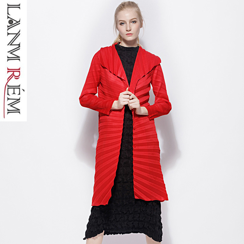 LANMREM 2019 spring summer pleated clothes for Women Long   Trench   Coats long sleeve cargigans high quality loose Clothing NA913