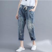 Summer Women Ripped Jeans Loose Embroidery Boyfriends Denim Pants Female Elastic High Waist Hole Jeans