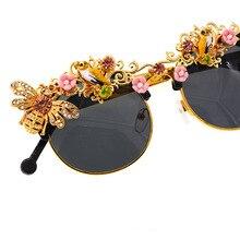 Ручная работа, роскошные барочные стразы, цветок, пчела, солнцезащитные очки для женщин, Брендовые женские солнцезащитные очки, очки с кристаллами, вечерние